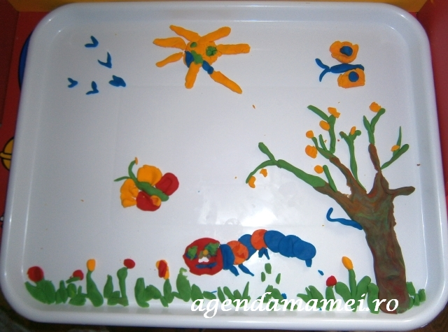 tablou de primavara din plastilina